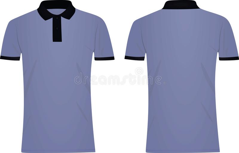 Μπλε μπλούζα πόλο σκούρο μπλε περιλαίμιο διανυσματική απεικόνιση