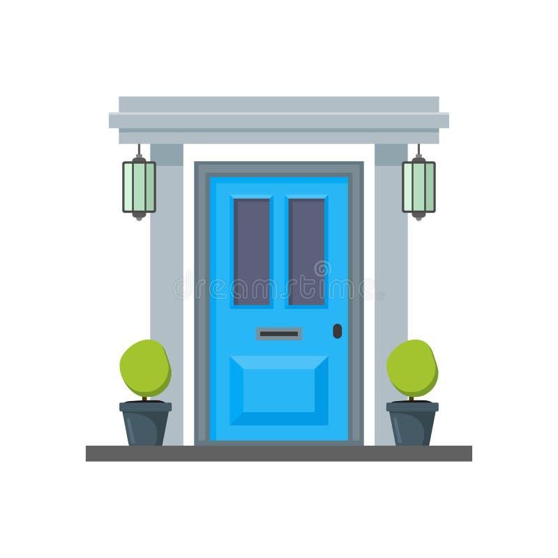 Μπλε μπροστινή πόρτα κινούμενων σχεδίων του σπιτιού διάνυσμα απεικόνιση αποθεμάτων