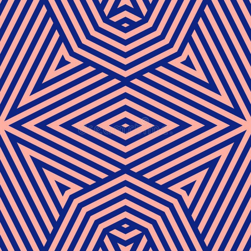Μπλε ναυτικό και ρόδινο γεωμετρικό άνευ ραφής σχέδιο γραμμών Διανυσματικό γραμμικό υπόβαθρο διανυσματική απεικόνιση
