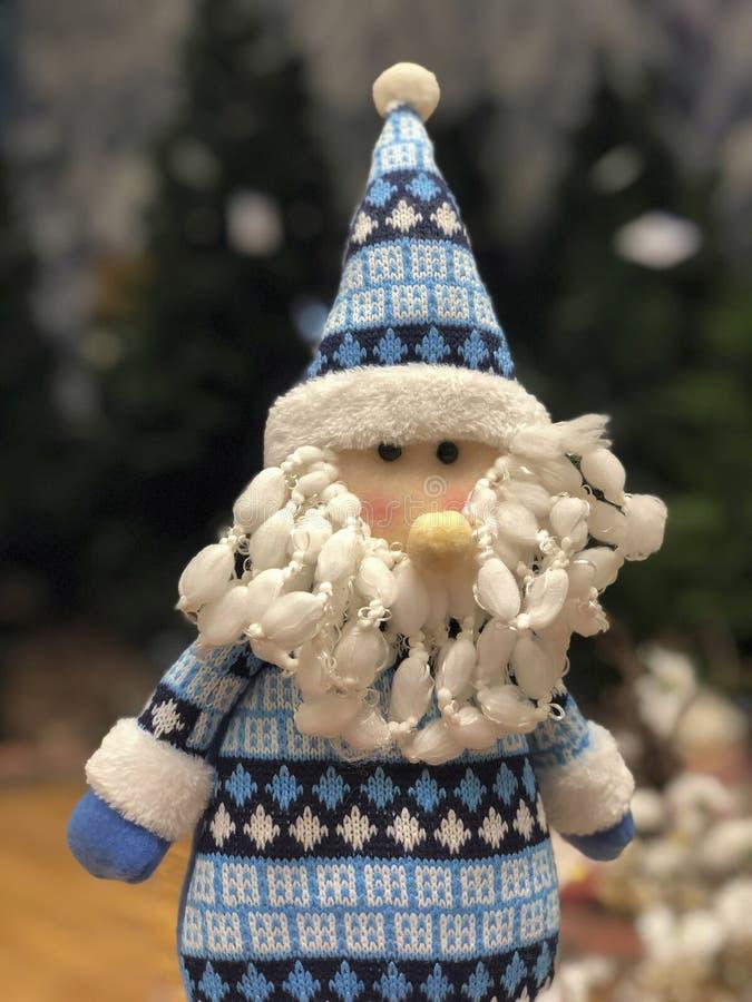 Μπλε ντυμένη διακόσμηση έτους Άγιου Βασίλη νέα στοκ εικόνες