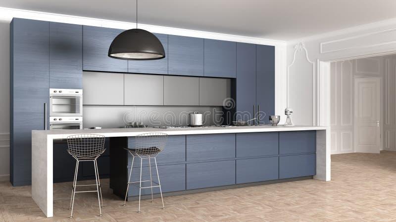 Μπλε ξύλινη σύγχρονη ελάχιστη κουζίνα με το νησί, τις συσκευές και το μεγάλο λαμπτήρα κρεμαστών κοσμημάτων στο κλασικό διαμέρισμα απεικόνιση αποθεμάτων