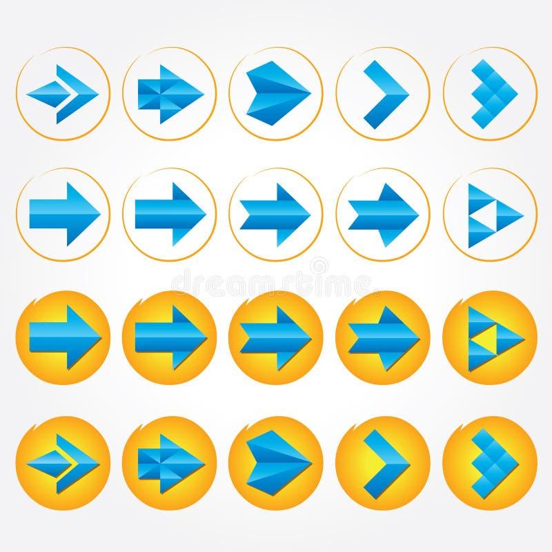 Μπλε ογκομετρικά βέλη. Σύνολο εικονιδίων σημαδιών βελών. διανυσματική απεικόνιση