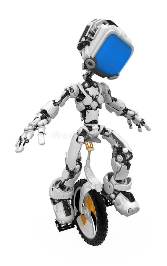 μπλε οθόνη ρομπότ unicycle διανυσματική απεικόνιση