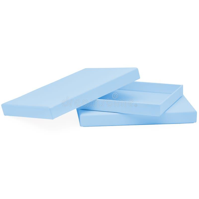Μπλε ορθογώνιο επίπεδο κόσμημα σοκολάτας μωρών και κιβώτιο δώρων στοκ φωτογραφίες