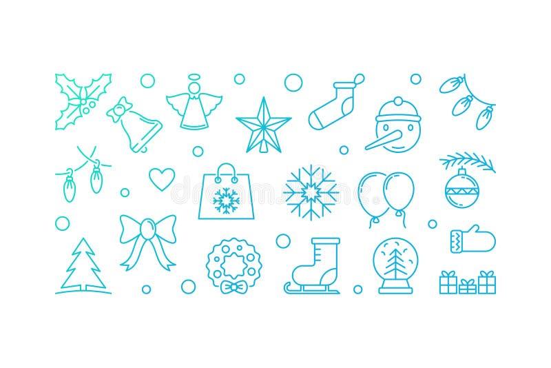 Μπλε οριζόντια απεικόνιση Χριστουγέννων Διανυσματικό έμβλημα περιλήψεων διανυσματική απεικόνιση