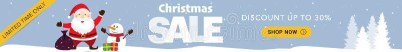 Μπλε οριζόντιο έμβλημα πώλησης Χριστουγέννων στοκ φωτογραφίες