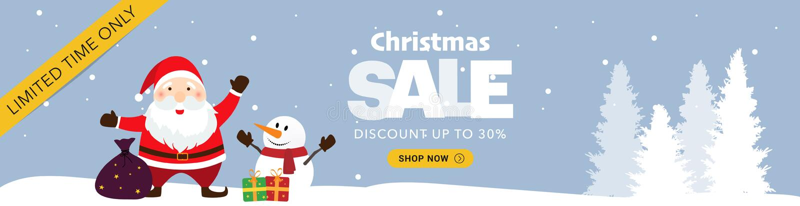 Μπλε οριζόντιο έμβλημα πώλησης Χριστουγέννων στοκ φωτογραφία με δικαίωμα ελεύθερης χρήσης