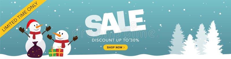 Μπλε οριζόντιο έμβλημα πώλησης Χριστουγέννων στοκ εικόνα