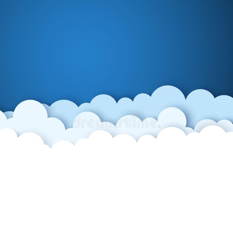 Μπλε ουρανός με τα διακοσμητικά σύννεφα της Λευκής Βίβλου Διανυσματική ανασκόπηση απεικόνιση αποθεμάτων
