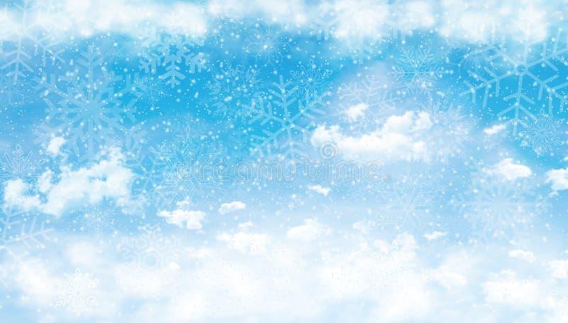 Μπλε ουρανός με τα σύννεφα και το χιόνι ελεύθερη απεικόνιση δικαιώματος