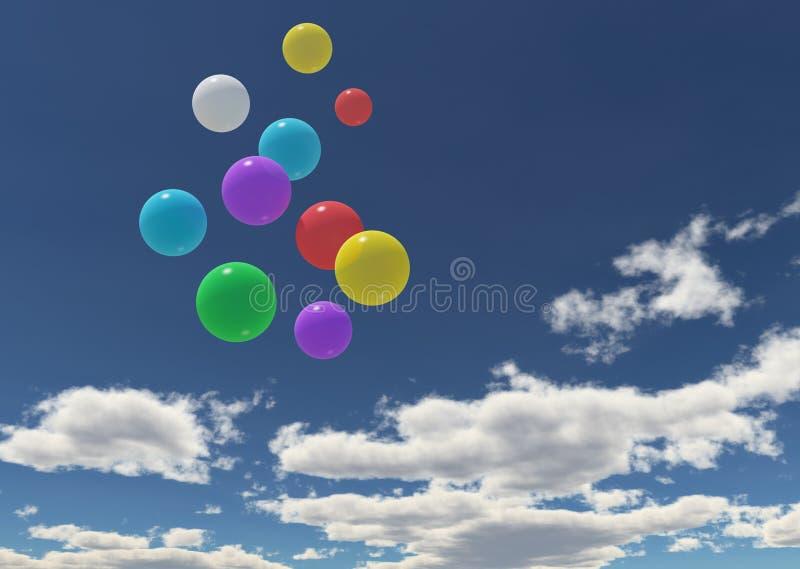 μπλε ουρανός μπαλονιών στοκ φωτογραφίες