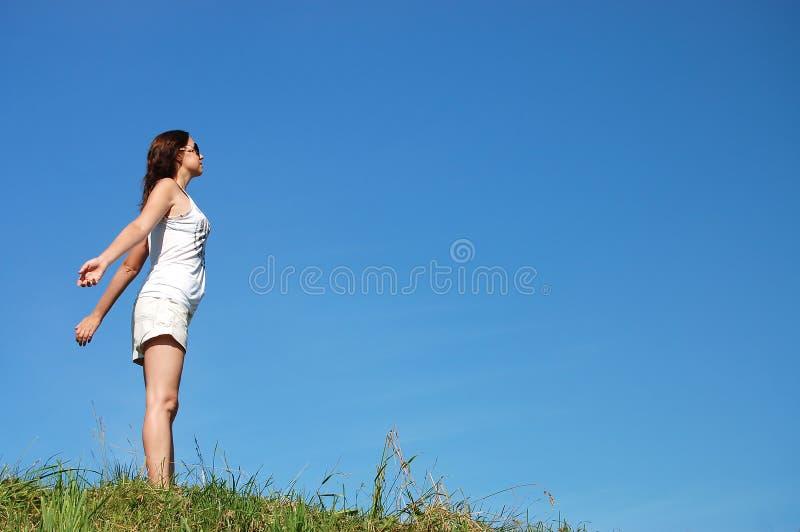 μπλε ουρανός πεδίων κάτω &alpha στοκ εικόνες με δικαίωμα ελεύθερης χρήσης