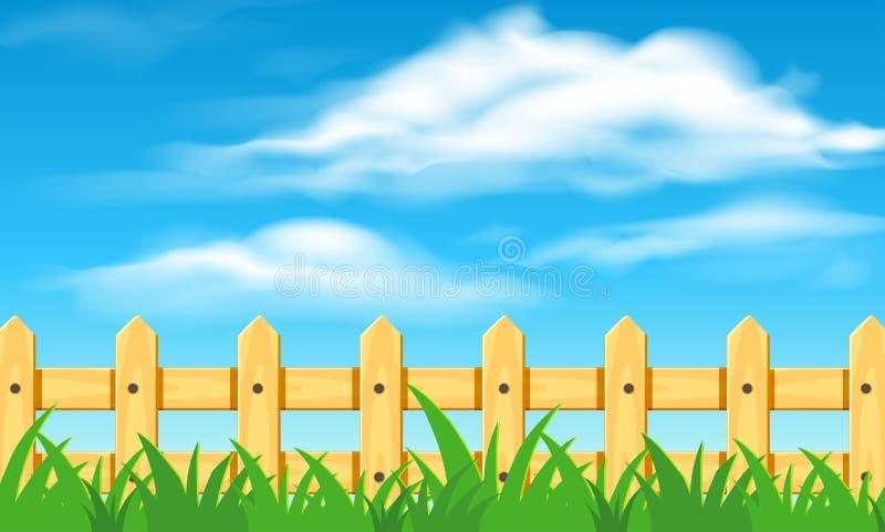 μπλε ουρανός φραγών ξύλιν&omicro απεικόνιση αποθεμάτων