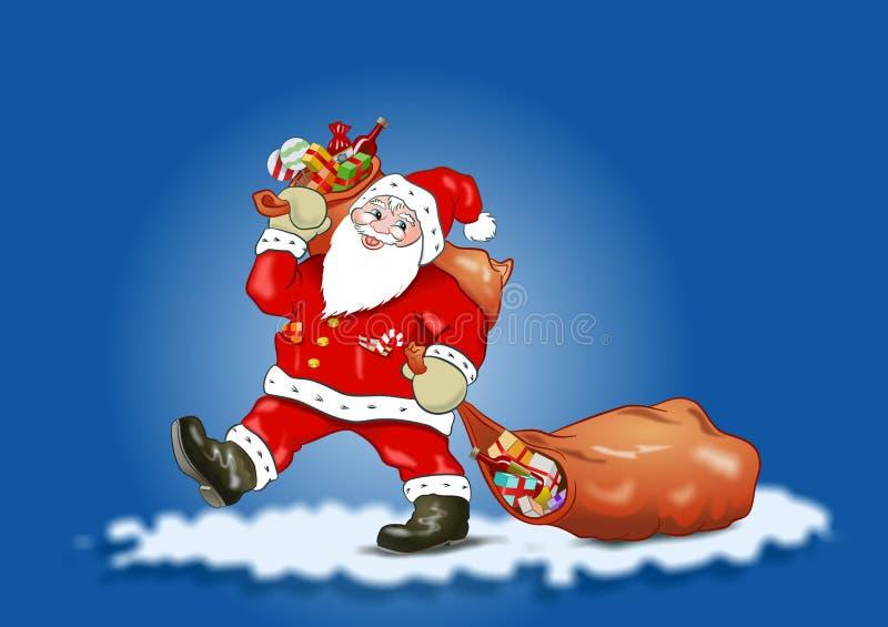 μπλε ουρανός santa Claus διανυσματική απεικόνιση