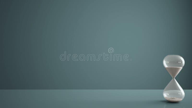 Μπλε πίνακας, γραφείο ή ράφι με τη σύγχρονη κλεψύδρα κρυστάλλου που μετρά τον περνώντας χρόνο σε μια αντίστροφη μέτρηση σε μια πρ στοκ φωτογραφία με δικαίωμα ελεύθερης χρήσης