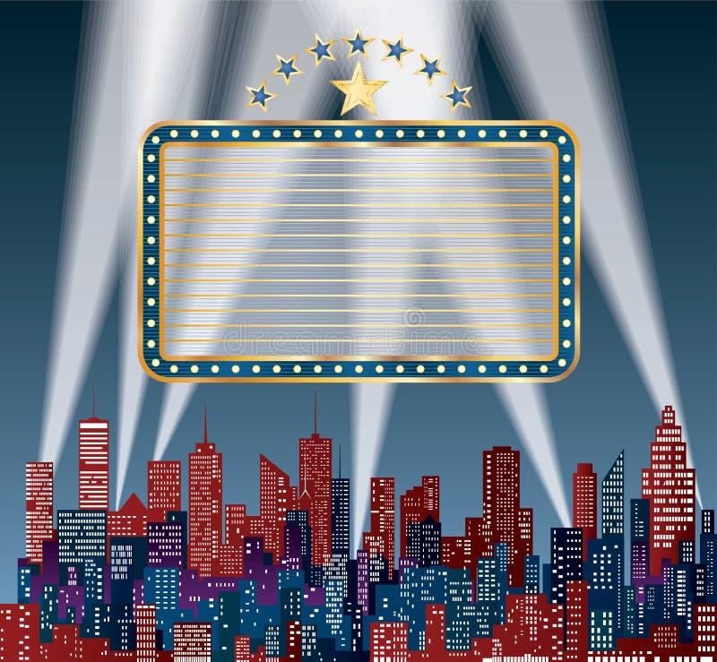 Μπλε πίνακας διαφημίσεων πόλεων αστεριών ελεύθερη απεικόνιση δικαιώματος
