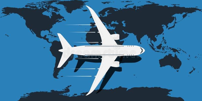 Μπλε παγκόσμιος χάρτης με τα αεροσκάφη και η διαδρομή του που απομονώνεται στο άσπρο υπόβαθρο επίσης corel σύρετε το διάνυσμα απε απεικόνιση αποθεμάτων