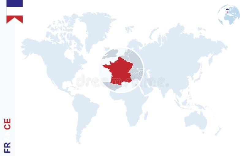 Μπλε παγκόσμιος χάρτης με την ενίσχυση στη Γαλλία ελεύθερη απεικόνιση δικαιώματος