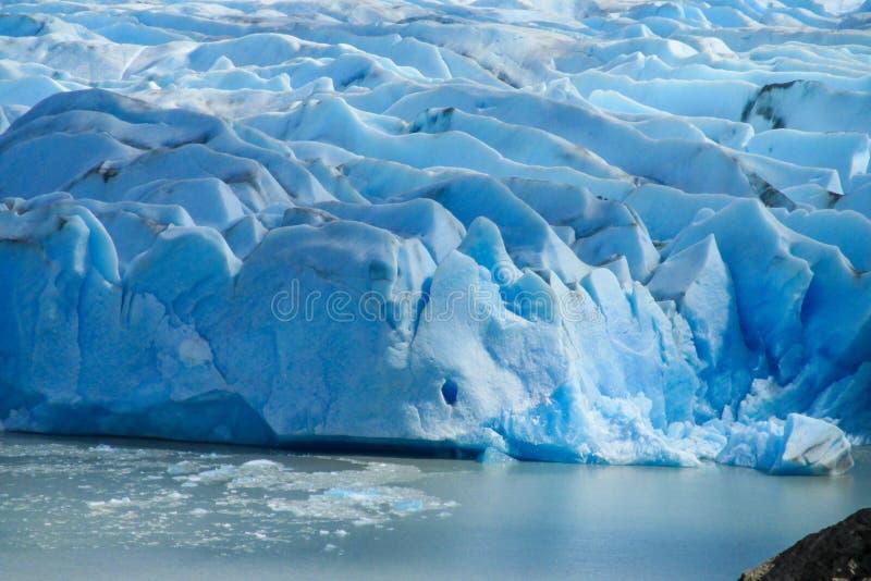 Μπλε παγόβουνα παγετώνων πάγου patagonian στο νερό λιμνών στοκ εικόνες