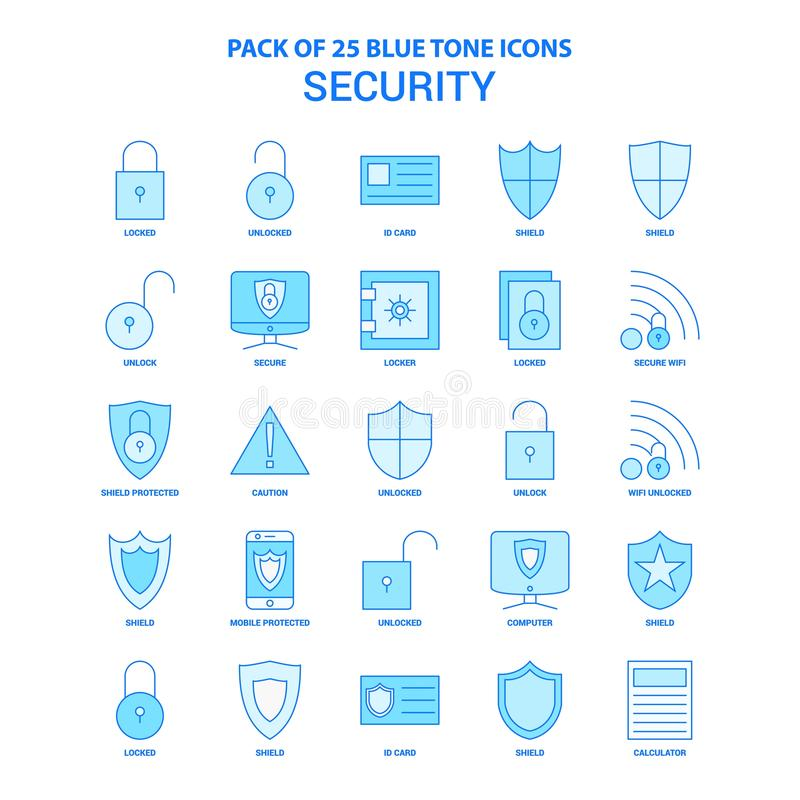 Μπλε πακέτο εικονιδίων τόνου ασφάλειας - 25 σύνολα εικονιδίων απεικόνιση αποθεμάτων