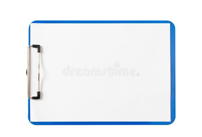 Μπλε περιοχή αποκομμάτων με τα κενά φύλλα εγγράφου που απομονώνονται στο άσπρο υπόβαθρο, διαστημική, τοπ άποψη αντιγράφων στοκ φωτογραφία