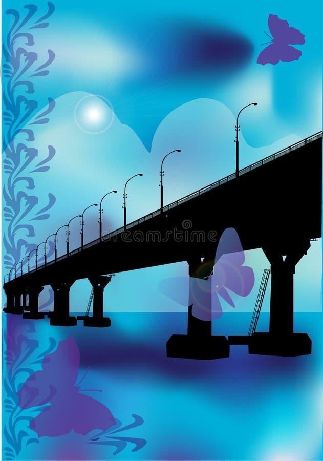 μπλε πεταλούδες γεφυρώ διανυσματική απεικόνιση