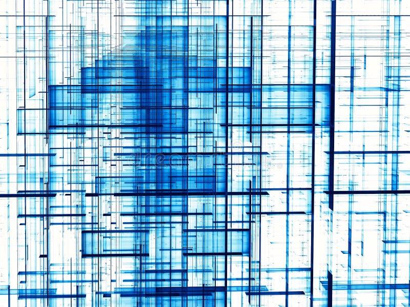 Μπλε πλέγμα - αφηρημένη ψηφιακά παραγμένη εικόνα απεικόνιση αποθεμάτων