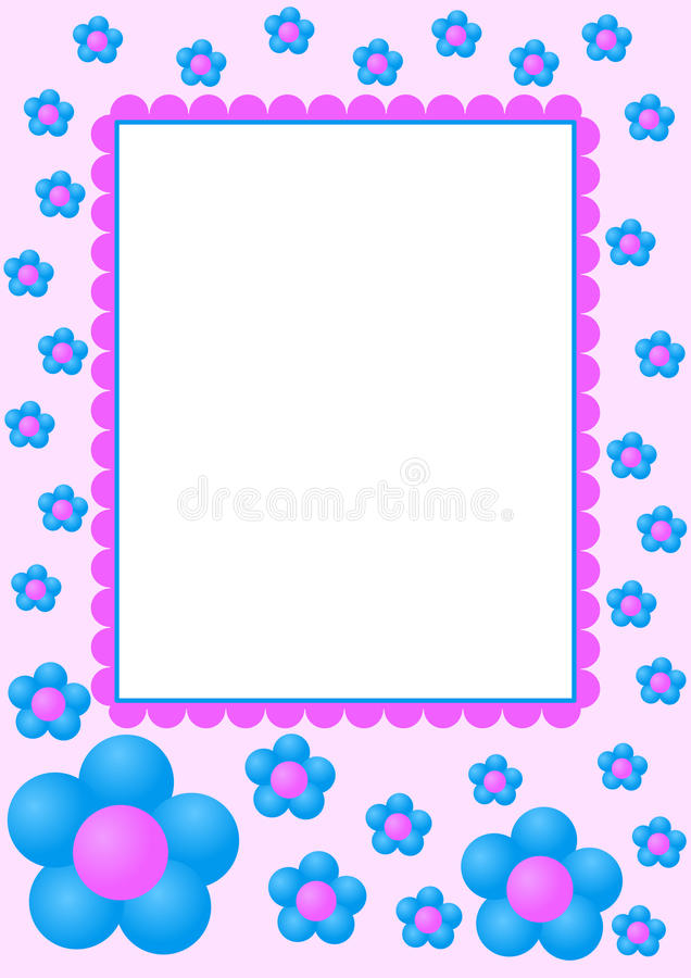 μπλε πλαίσιο λουλουδιών διανυσματική απεικόνιση