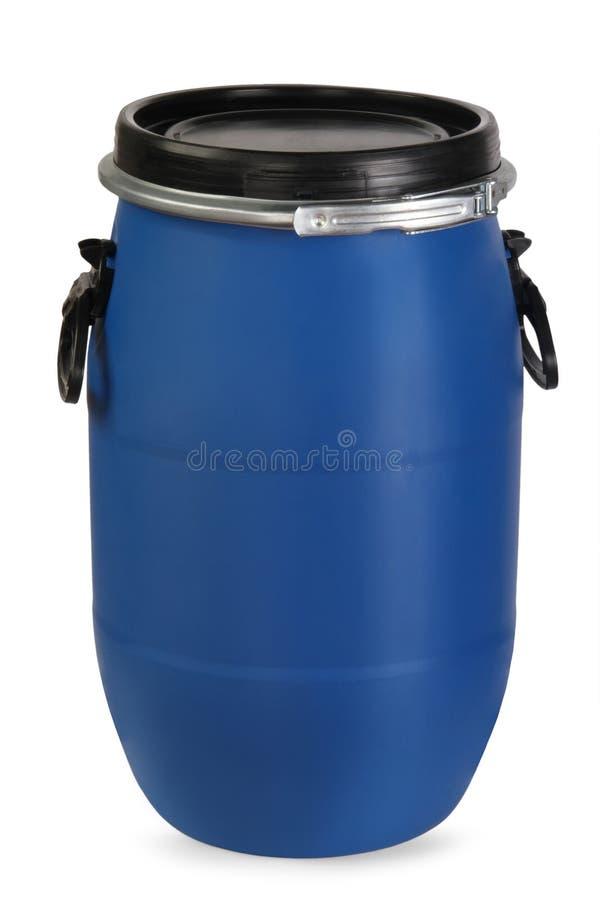 Μπλε πλαστικό βαρέλι στοκ φωτογραφία με δικαίωμα ελεύθερης χρήσης