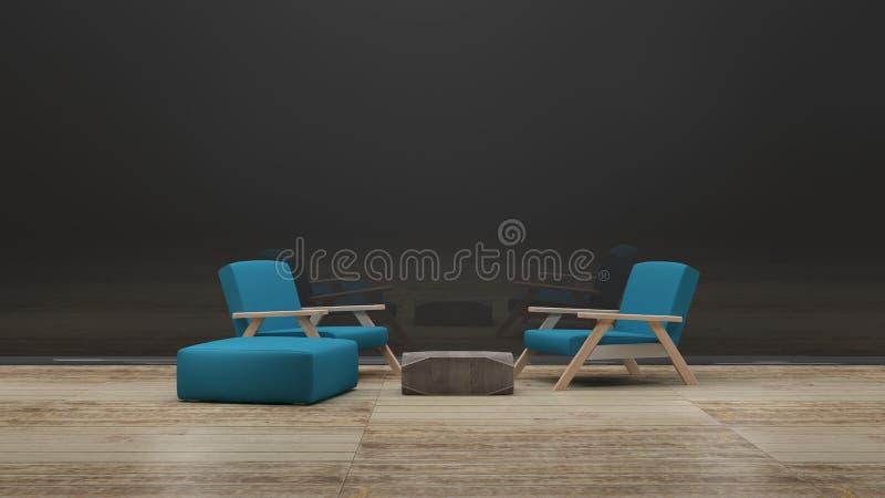 Μπλε πολυθρόνες πέρα από μια τρισδιάστατη απόδοση τοίχων γυαλιού στοκ εικόνες