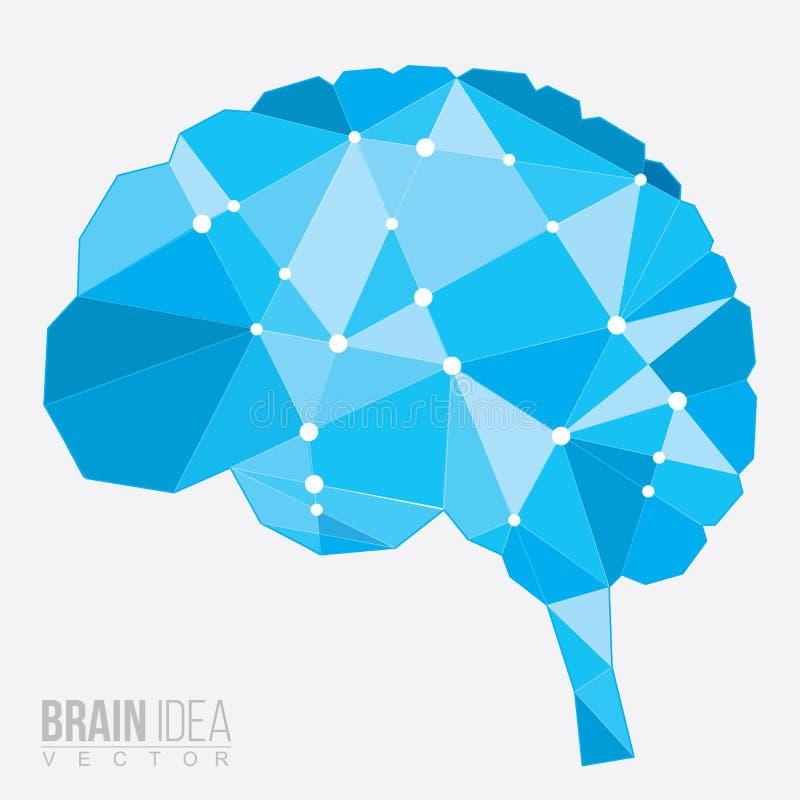 Μπλε πολύγωνο εγκεφάλου, διανυσματική απεικόνιση απεικόνιση αποθεμάτων