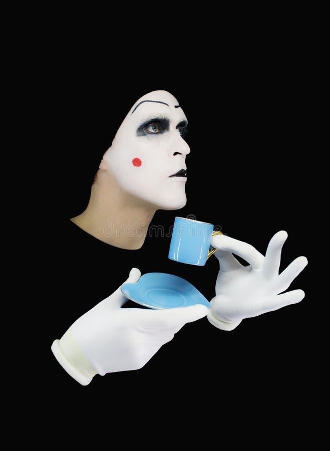 μπλε πορτρέτο φλυτζανιών mime στοκ εικόνα
