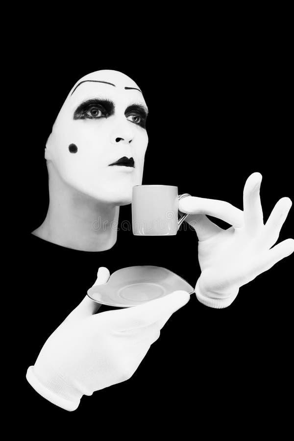 μπλε πορτρέτο φλυτζανιών mime στοκ εικόνες με δικαίωμα ελεύθερης χρήσης