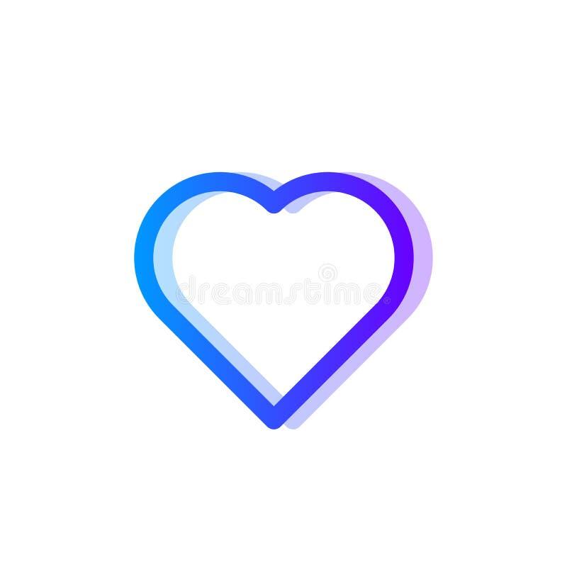 Μπλε πορφυρό εικονίδιο κλίσης καρδιών διανυσματική απεικόνιση