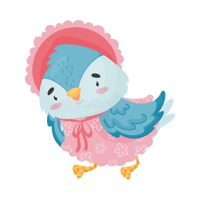Μπλε πουλί κινούμενων σχεδίων σε ένα φόρεμα E ελεύθερη απεικόνιση δικαιώματος