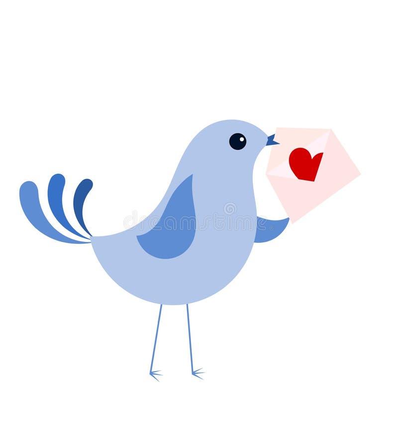 Μπλε πουλί με την επιστολή αγάπης διανυσματική απεικόνιση
