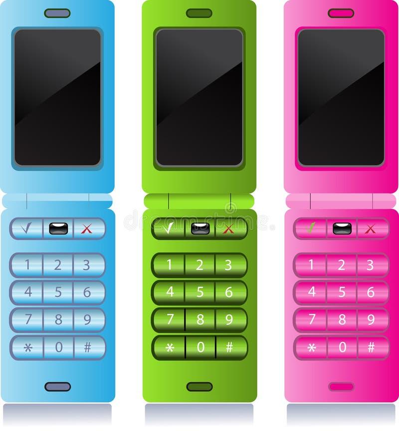 μπλε πράσινο κινητό τηλεφ&omega απεικόνιση αποθεμάτων