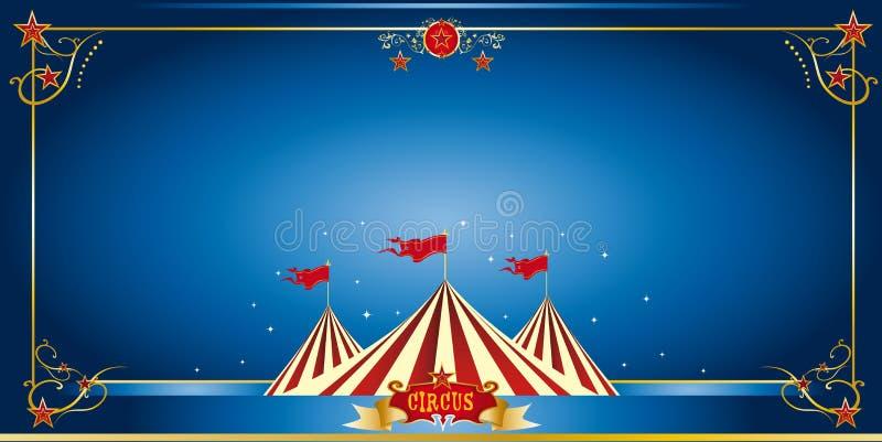 Μπλε πρόσκληση τσίρκων διανυσματική απεικόνιση