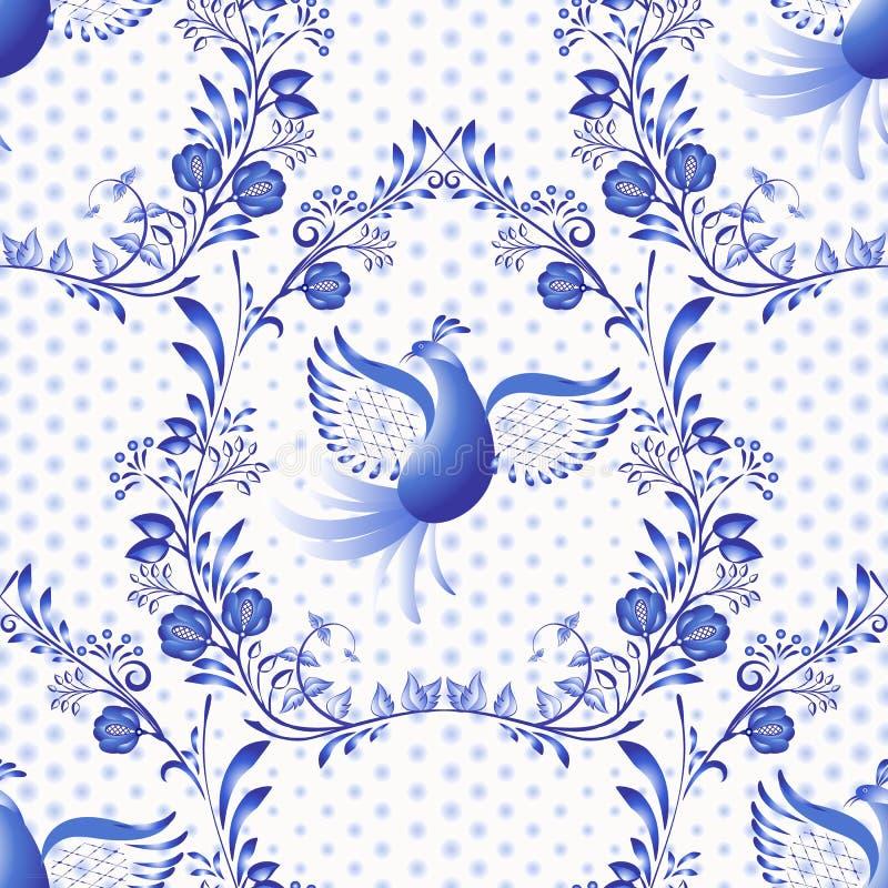 μπλε πρότυπο άνευ ραφής Floral υπόβαθρο με τα πουλιά και τα σημεία στο ύφος της εθνικής ζωγραφικής πορσελάνης ελεύθερη απεικόνιση δικαιώματος