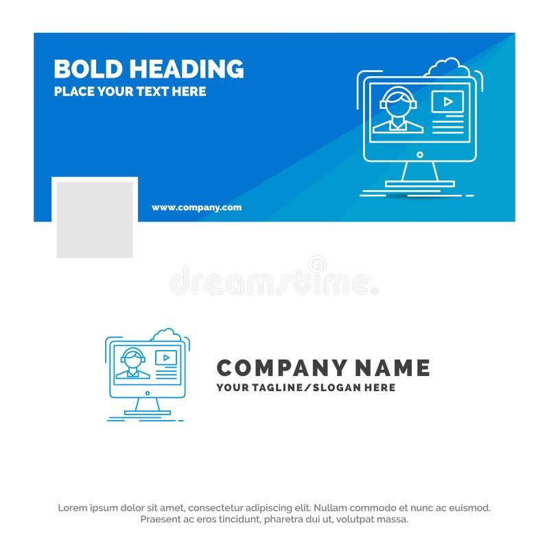 Μπλε πρότυπο επιχειρησιακών λογότυπων για τα σεμινάρια, βίντεο, μέσα, σε απευθείας σύνδεση, εκπαίδευση Σχέδιο εμβλημάτων υπόδειξη ελεύθερη απεικόνιση δικαιώματος