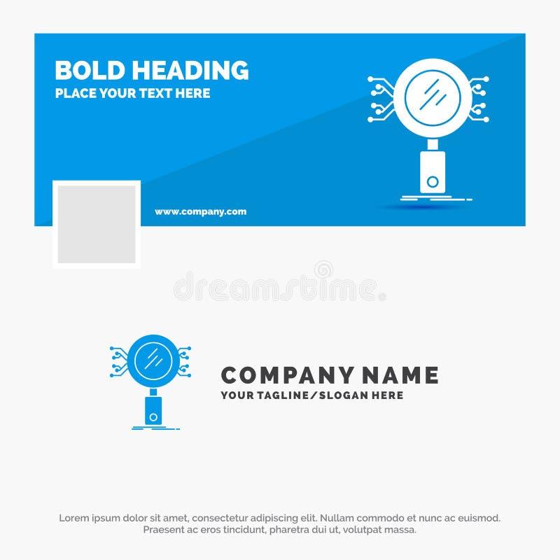 Μπλε πρότυπο επιχειρησιακών λογότυπων για την ανάλυση, αναζήτηση, πληροφορίες, έρευνα, ασφάλεια Σχέδιο εμβλημάτων υπόδειξης ως πρ διανυσματική απεικόνιση