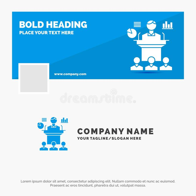 Μπλε πρότυπο επιχειρησιακών λογότυπων για την επιχείρηση, διάσκεψη, σύμβαση, παρουσίαση, σεμινάριο Σχέδιο εμβλημάτων υπόδειξης ως διανυσματική απεικόνιση