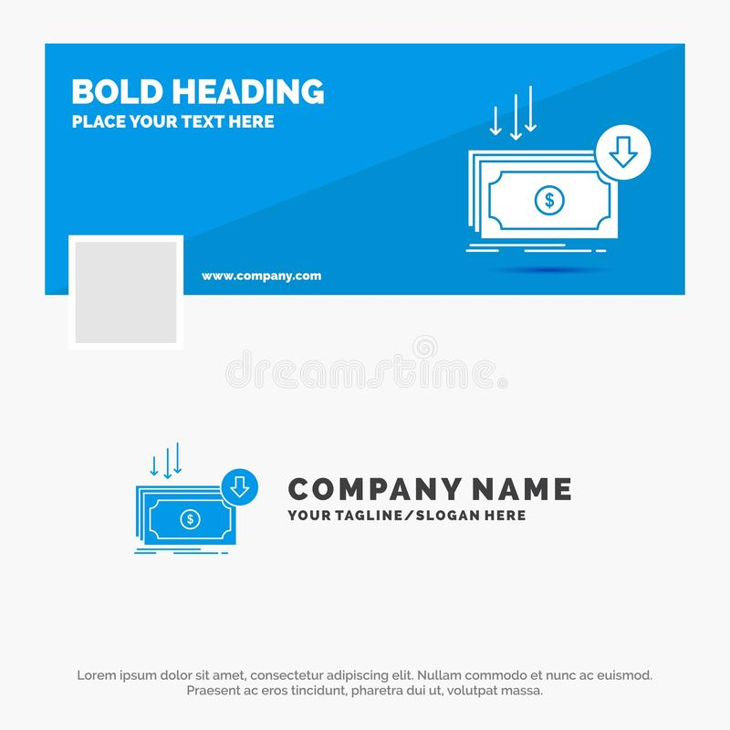 Μπλε πρότυπο επιχειρησιακών λογότυπων για την επιχείρηση, κόστος, περικοπή, δαπάνη, χρηματοδότηση, χρήματα Σχέδιο εμβλημάτων υπόδ ελεύθερη απεικόνιση δικαιώματος