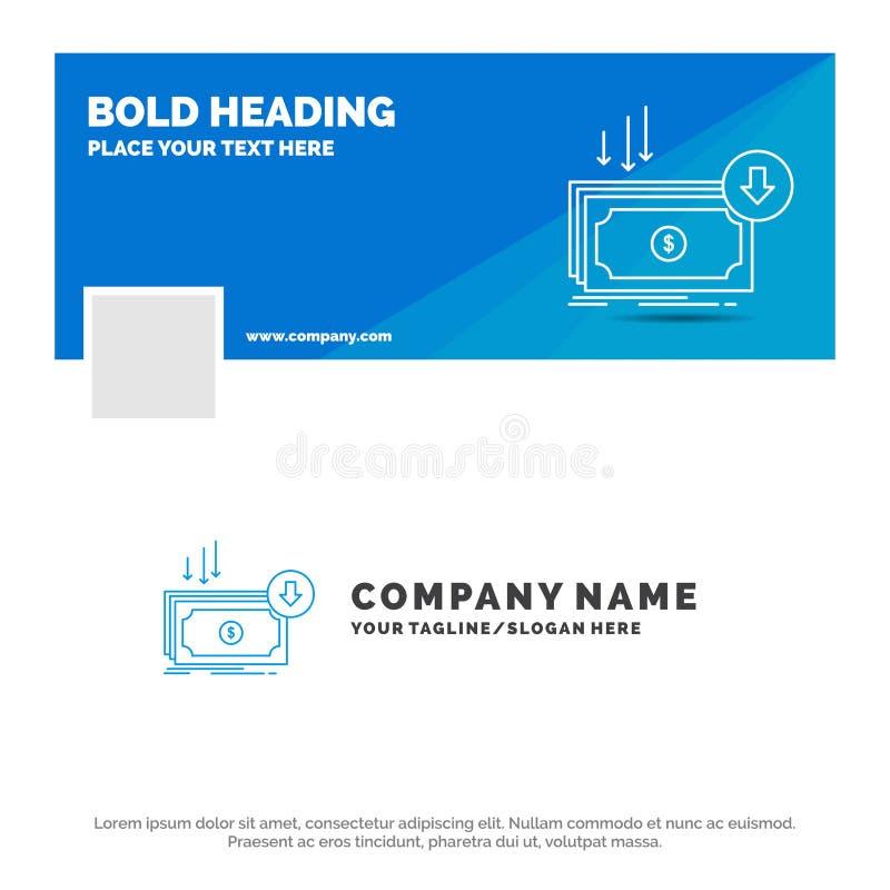 Μπλε πρότυπο επιχειρησιακών λογότυπων για την επιχείρηση, κόστος, περικοπή, δαπάνη, χρηματοδότηση, χρήματα Σχέδιο εμβλημάτων υπόδ διανυσματική απεικόνιση