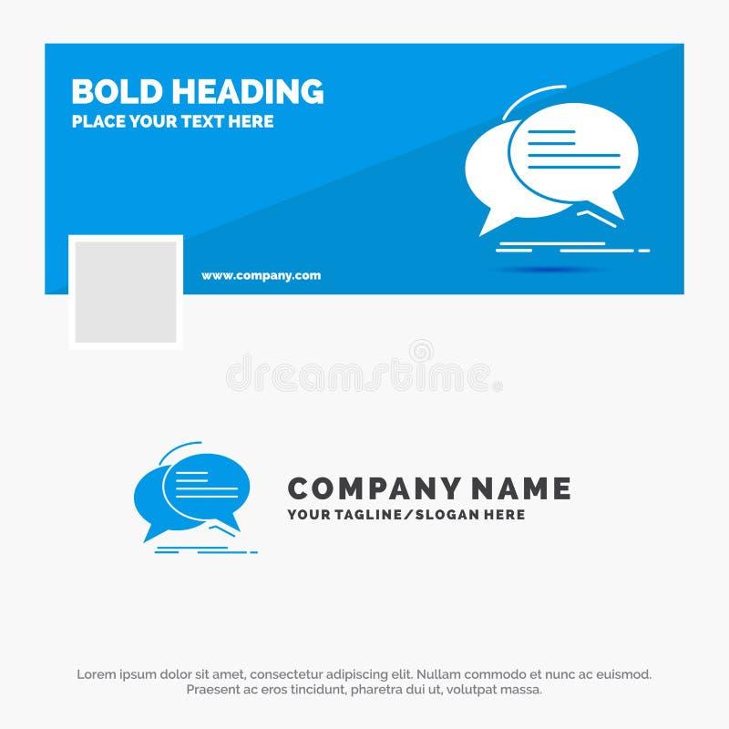 Μπλε πρότυπο επιχειρησιακών λογότυπων για τη φυσαλίδα, συνομιλία, επικοινωνία, ομιλία, συζήτηση Σχέδιο εμβλημάτων υπόδειξης ως πρ ελεύθερη απεικόνιση δικαιώματος