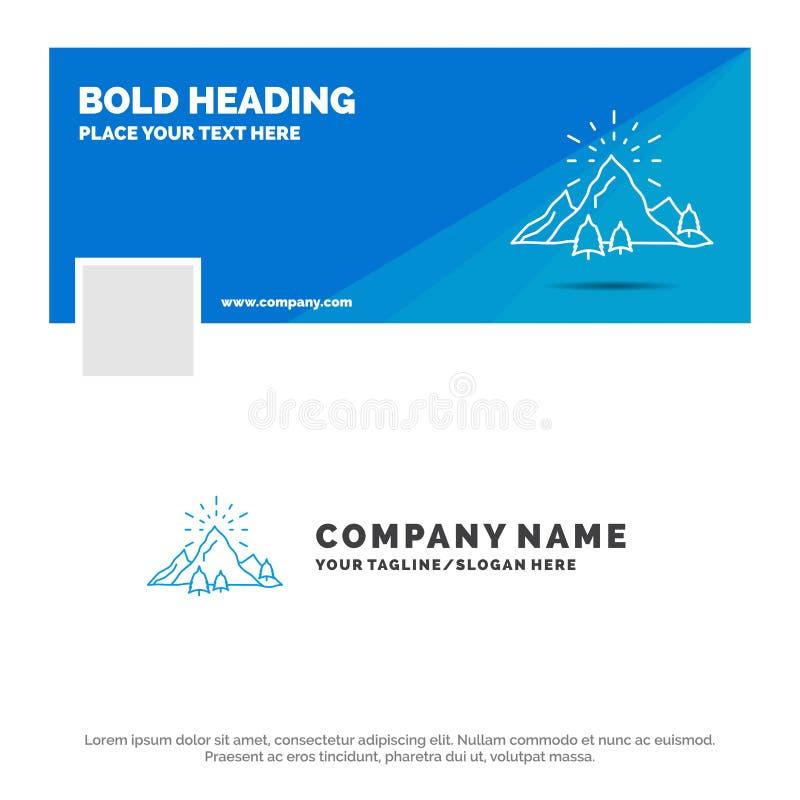 Μπλε πρότυπο επιχειρησιακών λογότυπων για το λόφο, τοπίο, φύση, βουνό, πυροτεχνήματα Σχέδιο εμβλημάτων υπόδειξης ως προς το χρόνο απεικόνιση αποθεμάτων