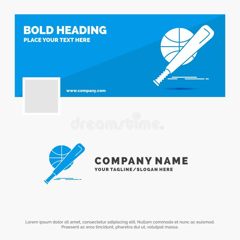 Μπλε πρότυπο επιχειρησιακών λογότυπων για το μπέιζ-μπώλ, καλάθι, σφαίρα, παιχνίδι, διασκέδαση Σχέδιο εμβλημάτων υπόδειξης ως προς διανυσματική απεικόνιση