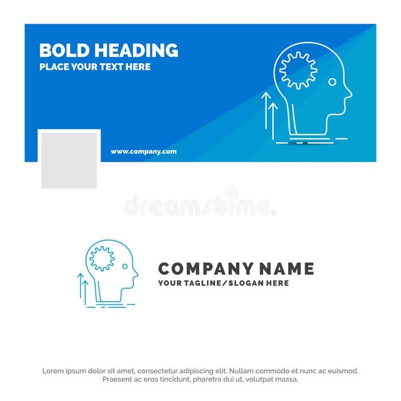 Μπλε πρότυπο επιχειρησιακών λογότυπων για το μυαλό, δημιουργικός, σκέψη, ιδέα, 'brainstorming' Σχέδιο εμβλημάτων υπόδειξης ως προ ελεύθερη απεικόνιση δικαιώματος