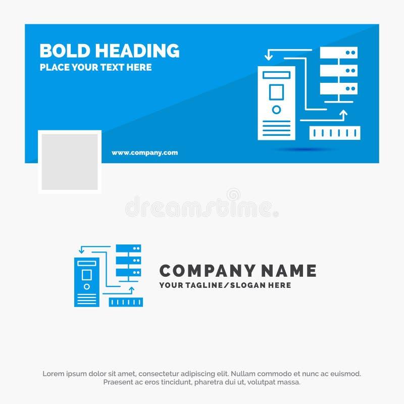 Μπλε πρότυπο επιχειρησιακών λογότυπων για το συνδυασμό, στοιχεία, βάση δεδομένων, ηλεκτρονική, πληροφορίες Σχέδιο εμβλημάτων υπόδ ελεύθερη απεικόνιση δικαιώματος