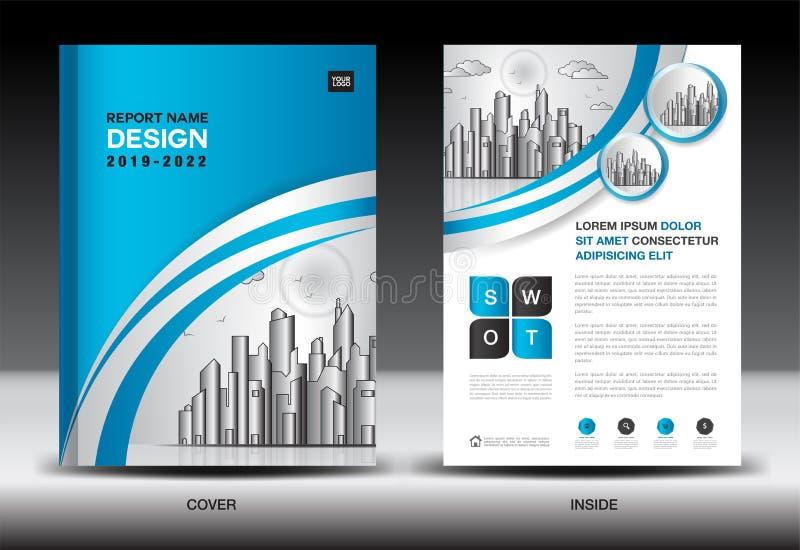 Μπλε πρότυπο κάλυψης με το τοπίο πόλεων, σχέδιο κάλυψης ετήσια εκθέσεων, πρότυπο ιπτάμενων επιχειρησιακών φυλλάδιων, διαφήμιση διανυσματική απεικόνιση